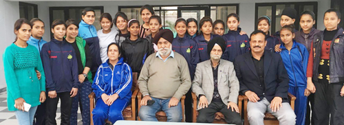 J&K Sub Junior Women Hockey team posing for a group photograph before leaving for Tamil Nadu on Friday.