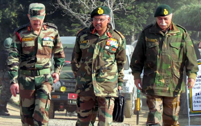 Northern Command chief Lt Gen Devraj Anbu during a visit to Kashmir on Sunday.