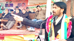 PCC chief G A Mir addressing party convention at Baramulla on Saturday.