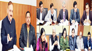 Divisional Commissioner Dr Pawan Kotwal chairing a meeting of Shiv Khori Shrine Board at Jammu on Tuesday.