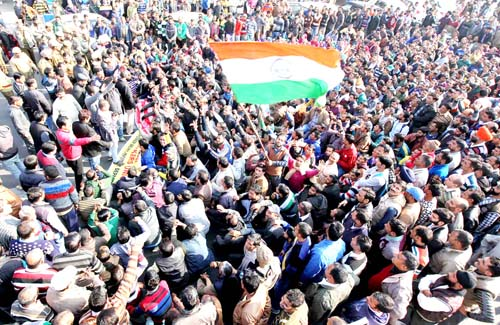 State Govt employees and temporary workers during massive protest rally in Jammu on Monday. -Excelsior/Rakesh
