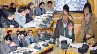 Chief Electoral Officer Shantmanu chairing a meeting at Srinagar on Tuesday.