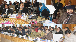 Chief Minister Mehbooba Mufti chairing a meeting at Kulgam on Sunday.