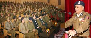 DGP K Rajendra addressing jawans at Police Auditorium Jammu on Wednesday.