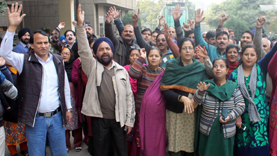 Members of Clerical Staff Association protesting on Thursday. — Excelsior/Rakesh