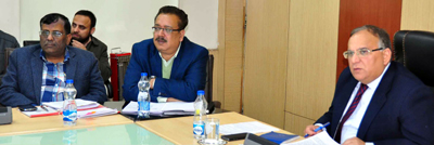 Chief Secretary BR Sharma chairing meeting at Jammu on Wednesday.