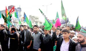 Muslims taking out procession on Eid-I-Milad-Ul-Nabi in Jammu on Monday. -Excelsior/Rakesh