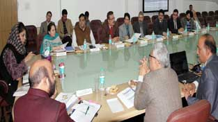Chief Minister Mehbooba Mufti chairing a meeting of J&K Medical Supplies Corporation Limited at Jammu on Tuesday.