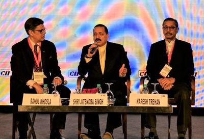"Union Minister Dr Jitendra Singh, flanked by renowned Cardiologist, Dr Naresh Trehan and President / ChairmanMax Group, Rahul Khosla, speaking at a panel discussion on ""Leapfrogging to the future - Vision 2030"" at the 13th India Health Summit 2016 organized by the Confederation of Indian Industry (CII), at New Delhi on Thursday."