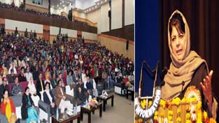 Chief Minister Mehbooba Mufti addressing gathering at Jammu on Tuesday.