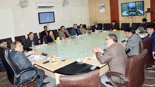 Chief Secretary B R Sharma chairing State Level Apex Committee meeting at Jammu on Tuesday.