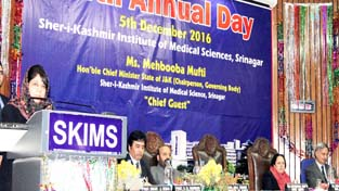 Chief Minister Mehbooba Mufti addressing gathering at SKIMS on Monday.