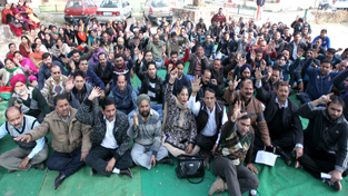 Clerical cadre employees staging protest dharna at Press Club in Jammu on Saturday.