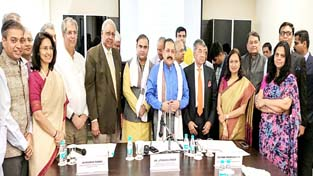 Union Minister Dr Jitendra Singh being felicitated by Indian Merchants' Chamber (IMC), country's oldest Chamber of Commerce & Industry with a history of over 150 years, at Mumbai on Sunday.