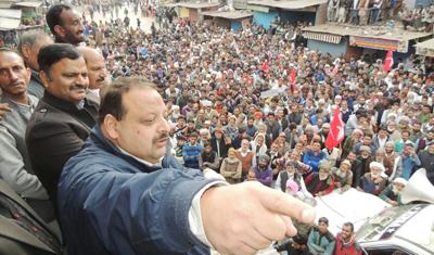 National Conference Provincial President Devender Singh Rana addressing public gathering at Mendhar on Thursday.