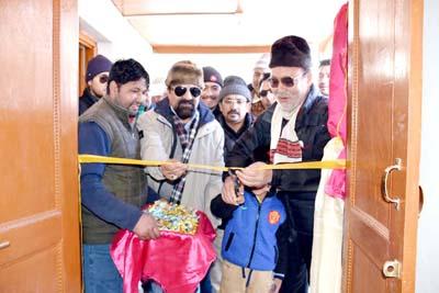 CEC, LAHDC, Kargil, Kacho Ahmad Ali Khan inaugurating power plant.