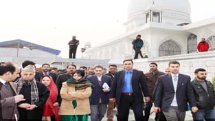 Chief Minister Mehbooba Mufti during her visit to Asar Sharief Hazratbal.