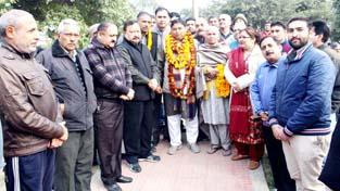 MLA Jammu West, Sat Sharma during his visit to Municipal Park at Resham Garh on Sunday.