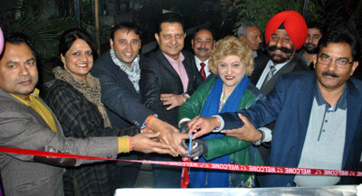Dignitaries inaugurating Cafe Coffee Day Kiosk at Amar Singh Club in Jammu.