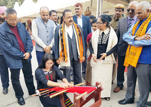 "Union Minister Dr Jitendra Singh going around the various stalls after formally inaugurating ""Northeast Textile & Craft Shopping Mela"" at Janpath, New Delhi on Saturday."
