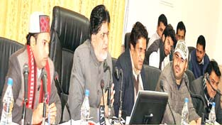 Minister for Animal and Sheep Husbandry Abdul Ghani Kohli chairing DDB meeting in Ramban on Sunday.