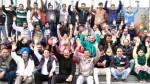 Jammu Kashmir and Ladakh Clerical Staff Association holding protest at Jammu on Friday.    -Excelsior/ Rakesh.