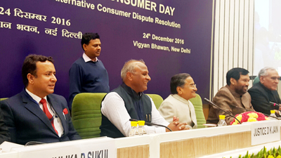 Union Minister for Consumer Affairs and Public Distribution Ram Vilas Paswan, J&K Minister Ch Zulfkar Ali and others during National Consumer Day (NCD) celebrations at New Delhi on Saturday.
