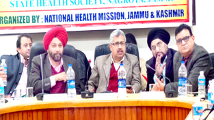 Commissioner/ Secretary Health Dr Mandeep K Bhandari and NHM Director Dr Mohan Singh at a workshop in Nagrota on Saturday.