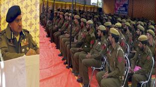 DGP K Rajendra Kumar addressing jawans during visit to North Kashmir.