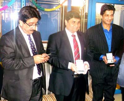 Ravinder Kaul, Rahul Sahai and Anil Swaraj Gupta launching the Just Call Mobile App.