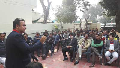 CAPD Minister Ch Zulfkar addressing PDP workers at Jammu on Friday.