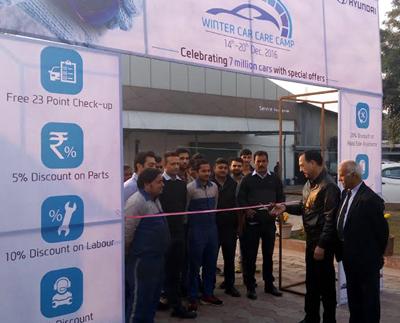 Vice-president of Pace Hyundai, Rakesh Kharyal, inaugurating 7-day Winter Car Care camp at Pace Hyundai's workshop in Jammu.