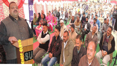National Conference Provincial President Devender Singh Rana addressing a public gathering at Dansal on Friday.