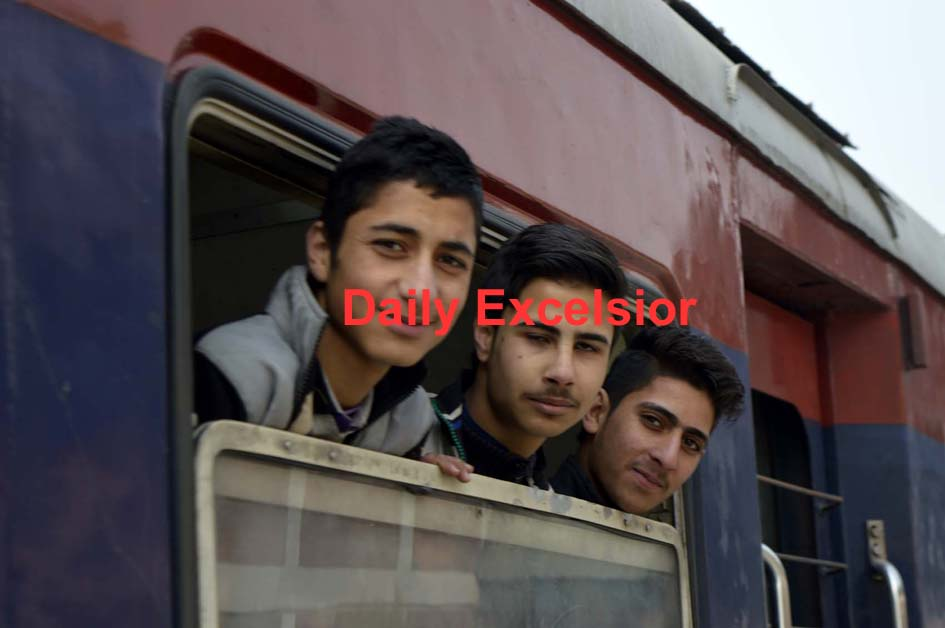 Rail service resumed from Banihal  to Bugam after remaining suspend for nearly five months due to Kashmir unrest. Excelsior/Sajad Dar