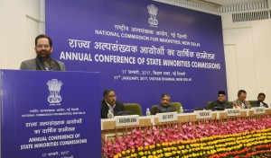 The Minister of State for Minority Affairs (Independent Charge) and Parliamentary Affairs, Shri Mukhtar Abbas Naqvi addressing at the inauguration of the Annual Conference of State Minorities Commission, organised by the National Commission for Minorities, in New Delhi on January 17, 2017.