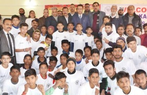 Budding sportspersons posing alongwith Minister for Food, Civil Supplies and Consumer Affairs, Ch Zulfkar Ali in Samba on Wednesday.