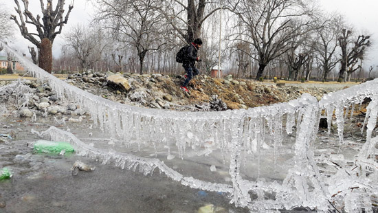 Icicles formed due to sub zero temperature in Pahalgam on Wednesday. -Excelsior/Younis Khaliq