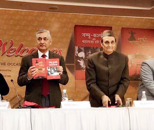 Rajya Sabha MP Dr Karan Singh and ex-CJI TS Thakur at the book launch ceremony in New Delhi on Saturday.