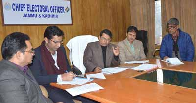 CEO J&K Shantmanu releasing Electoral Rolls of Jammu and Kashmir in Jammu on Saturday.