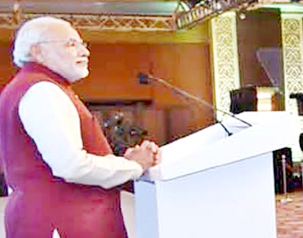 Prime Minister Narendra Modi delivering the inaugural address at the opening session of the Second Raisina Dialogue in New Delhi on Tuesday. (UNI)