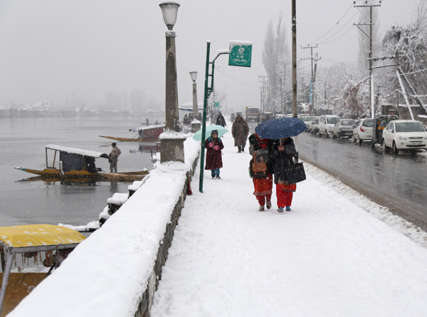 Students walk amid snowfall along Boulevard in Dalgate area of Srinagar on Wednesday. —Excelsior/Shakeel