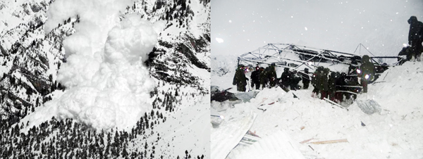 Snow avalanche in Gurez and damage caused by it to Army post. Another pic on Page 6.