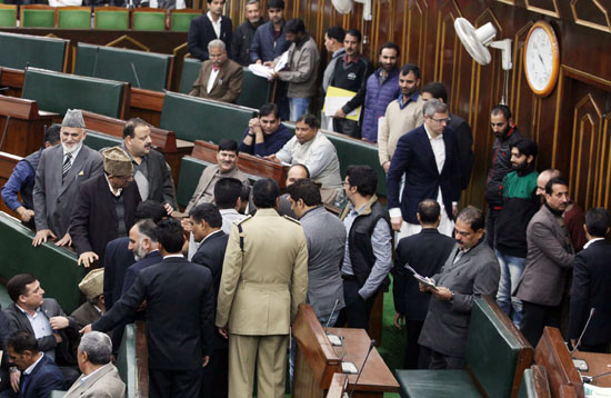 Opposition MLAs staging walkout over demand for judicial probe into killings during Valley unrest on Wednesday. -Excelsior/ Rakesh