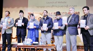 Chief Minister Mehbooba Mufti and other party leaders releasing a book on Mufti Sayeed in Jammu on Friday.