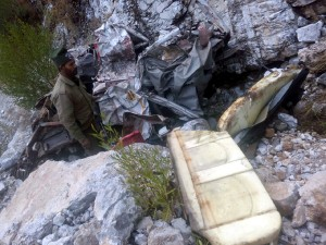 Wreckage of Tata Sumo which rolled down in gorge.