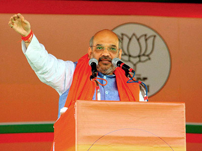 BJP president, Amit Shah addressing National Executive meeting at New Delhi on Friday.