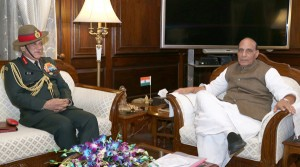 Chief of Army Staff, General Bipin Rawat calling on Union Home Minister,  Rajnath Singh, in New Delhi on Tuesday. (UNI)