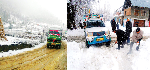 A vehicle moving through snowclad road in Bhaderwah (left) and people clearing snow at Nihama, D H Pora in Kulgam on Sunday. -Excelsior/Tilak Raj and Sajjad Dar