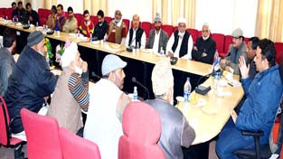 Minister for Food, Civil Supplies and Consumer Affairs Choudhary Zulfkar Ali chairing a meeting at Jammu on Sunday.