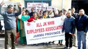 NHM employees stage protest on 3rd consecutive day